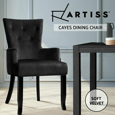 AU124.90 • Buy Artiss Dining Chairs French Provincial Chair Velvet Fabric Timber Retro Black