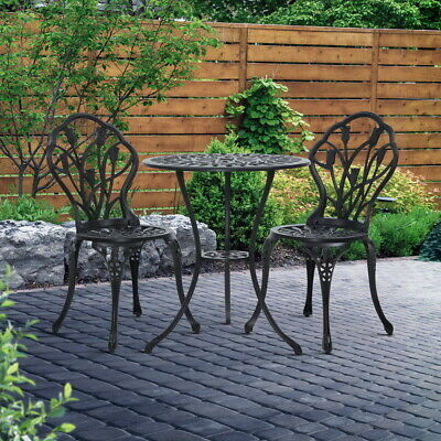 AU188.90 • Buy Gardeon 3 Piece Outdoor Setting Chairs Table Bistro Set Patio Cast Aluminum