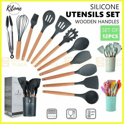 AU41.95 • Buy Set Of 12 BPA Free Silicone Utensils Set Cooking Kitchen Baking Cookware Wooden