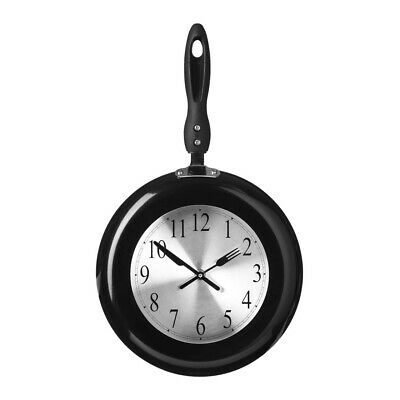 Frying Pan Design Black Knife And Forks Handles Kitchen Wall Clock • 30.99£
