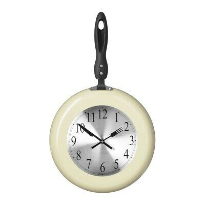 Frying Pan Design Cream Large Knife And Forks Handles Kitchen Wall Clock • 30.99£