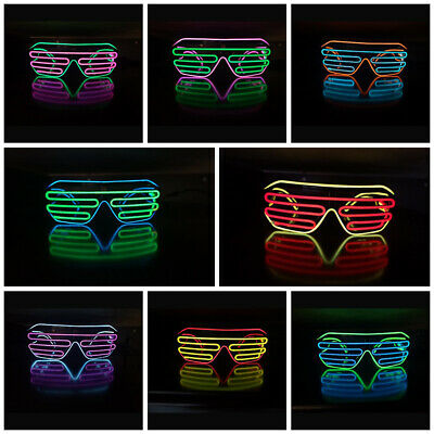 LED Shutter Shades Flashing Glasses Rave Club Party Fancy Dress Light Up BC GN • 5.55£