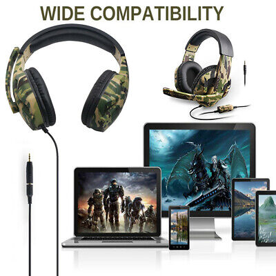 AU32.38 • Buy Gaming Headset Camouflage PS4 PC Gaming Headset Headset With Mic Laptop Phone