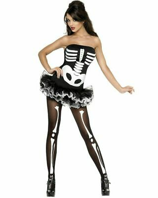 Adult Fever Sexy Skeleton Dress With Tutu Halloween Fancy Dress Costume • 8.90£