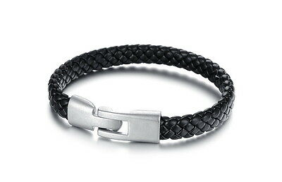Men's Black Leather Bracelet With Retro Alloy Buckle • 3.80£