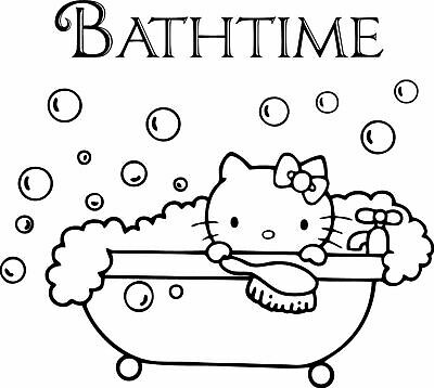Bath Time Cat Bathroom, Wall Art Sticker, Home Decor, Quality DIY Decal Quotes • 3.99£