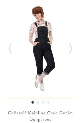 Collectif Mainline Coco Cropped Dungarees Size 10 Rockabilly Pin Up • 5£