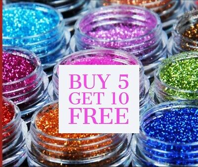 /Glitter Pots ** BUY 5 Get 10 FREE** Eyes Lips Face Body Craft Nail Art • 1.10£