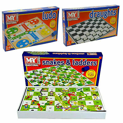 Classic Family Kids Ludo Snakes & Ladders Draughts Traditional Board Fun Games  • 3.99£