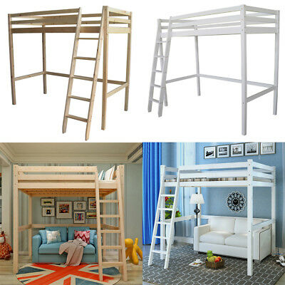 Loft Bunk Cabin With Wood Pine Frame High Sleeper Ladder 3ft Adult/Children Bed • 189.95£