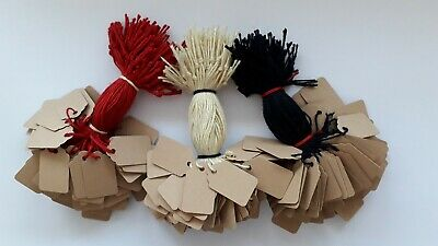 100 Buff Strung Price Labels 25mm X 15mm Small Tags Swing Tickets  • 1.85£