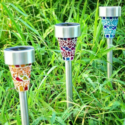 6 Pack Solar Mosaic Stake Lights Solar Powered Outdoor Garden UK SHIPPING • 16.99£