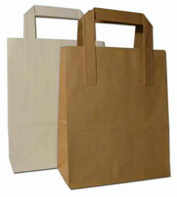 Strong Kraft Paper Sos White Brown Food Carrier Party Takeaway Bags With Handles • 1.99£