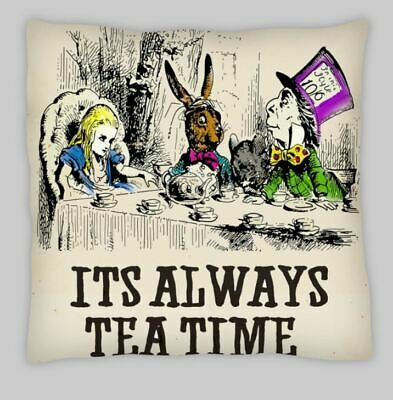Steampunk  Alice In Wonderland Always Tea Time Cushion Cover 18x18 Linen  • 6.95£