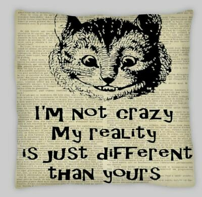 Steampunk  Alice In Wonderland CRAXY CHESHIRE CAT Cushion Cover 18x18 Linen  • 6.95£