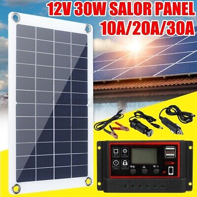 30W 12V Solar Panel USB Flexible Battery Charger Kit & Controller 10/20/30A  • 19.57£