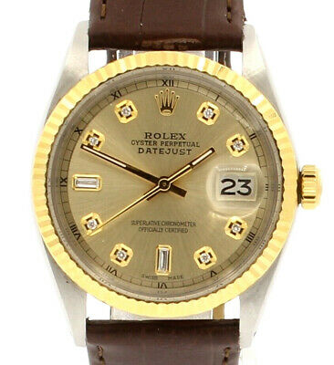 $ CDN6533.44 • Buy Mens Vintage ROLEX Oyster Perpetual Datejust 36mm Gold Dial DIAMOND  Watch