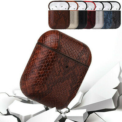 AU18.88 • Buy For Airpods 1/2 Hook Airpods Earphone Charging Box Snake Skin Leather Case Cover