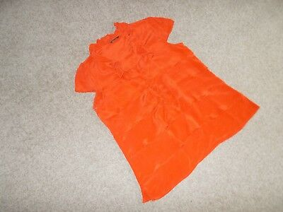 AU7.50 • Buy Massimo Dutti Size 10 Coral Silk Blouse Frilled Front