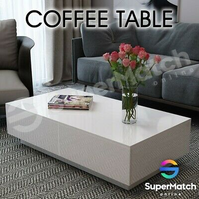 AU139.59 • Buy High Gloss 4 Drawers Coffee Table Storage Modern Living Room Furniture 120CM WH