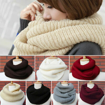 £6.69 • Buy Women Winter Warm Infinity 2 Circle Cable Knit Cowl Neck Long Scarf Shawl Xmas