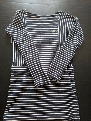 Gorgeous Lacoste Girls 8 Years Dress / Tunic Navy Blue And White Striped • 35£