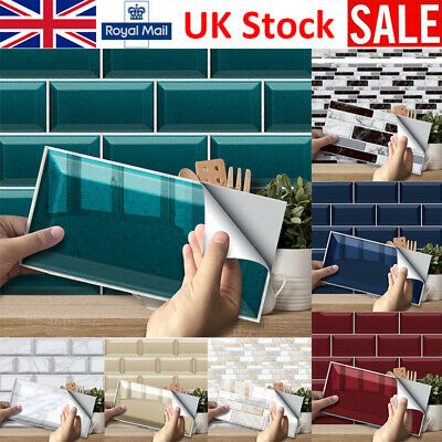 3D Mosaic Kitchen Tile Stickers Bathroom Self-adhesive Wall Decor Home DIY UK • 27.28£