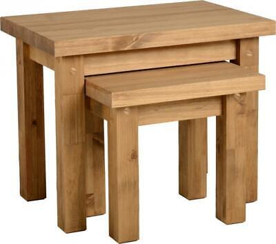 £62.95 • Buy Waxed Pine Wooden Nest Of 2 Tables, Side Tables, Side, End Table, Living Room