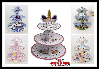 £7.99 • Buy NEW 3 Tier Kids Party Cupcake Stand Muffin Holder Cardboard Cake Rack Princess