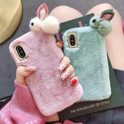 £4.98 • Buy Warm Plush Rabbit Doll Fluffy Phone Case Cover Comfy Faux Fur For IPhone Models