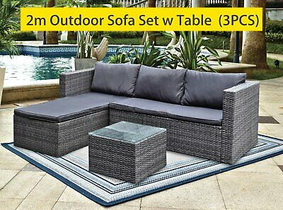 AU479.99 • Buy 3pc Lounger Set Outdoor Furniture Rattan Wicker Chair Sofa Table Garden Patio
