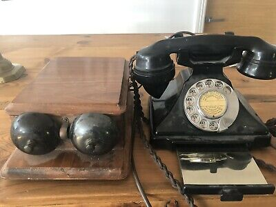 Rare Bakelite 232 Pyramid Phone - Silver Tray & Wooden Bell Box. Fully Working. • 200£