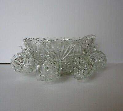 VINTAGE 1960s 70s GLASS PUNCH BOWL 8 PERSON SET BOWL CUPS AND LADLE PARTY • 25£