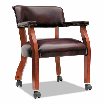 $227.89 • Buy Alera Traditional Series Guest Arm Chair W/Casters Mahogany/Oxblood Vinyl