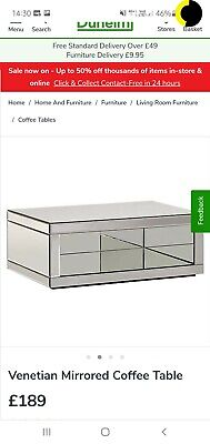 £70 • Buy Venetian Mirrored Rectangle Coffee Table Contemporary Modern Mirror Furniture