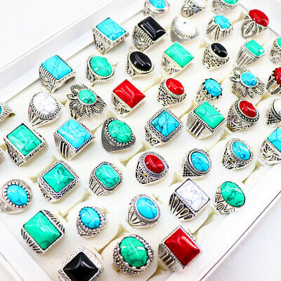 $ CDN32.88 • Buy Vintage 50pcs/Lots Metal Carved Flowers Unisex Turquoise Stone Jewelry Ring