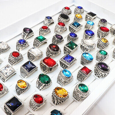 $ CDN31.66 • Buy Wholesale 50pcs/Lots Vintage Silver Metal Unisex Mix Style Glass Jewelry Ring