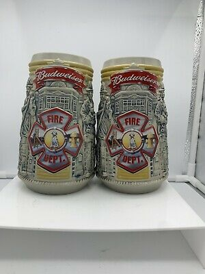 $ CDN35.51 • Buy Set Of 2 Budweiser Firefighters Stein Honor Courage Mugs Collectable Numbered
