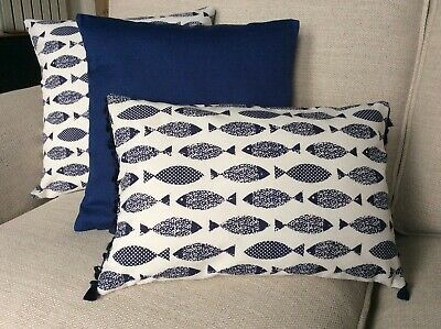 Blue Nautical Fish Cushion Cover With Tassels  • 7.95£