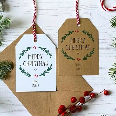 Personalised Christmas Gift Tags / Eco Wrapping / Rustic Family Present Labels • 4.50£