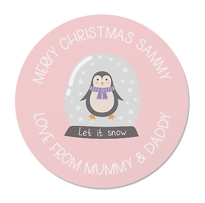 £2.20 • Buy 24 Personalised Merry Christmas Stickers / Labels - Children's Xmas Snowglobe