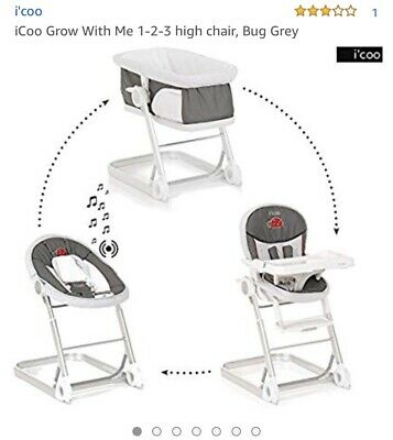 ICoo Highchair, Babycot And Extra Bed Grow With Me 1-2-3 - Bug ( BRAND NEW ) • 180£