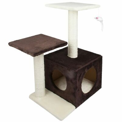 Brown Multi Level Cat Tree Tower Kitten Cave House 2 Scratching Posts Play Area • 24.99£