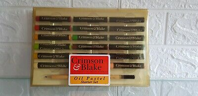 Crimson & Blake Oil Pastels 18 Colours Fine Quality 9x6  Drawing Board, Pencil • 17£