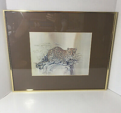 "$ CDN74.48 • Buy Phil Prentice Crouching Leopard 1976 Vintage Art Print Framed Signed 20""x16"""