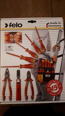 FELO 9 Pce VDE Insulated Pliers,Screwdriver Set,Cable Stripper & Pouch, 41399504 • 85£