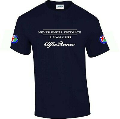 Never Under Estimate.. Alfa Romeo Funny Mens T-shirt Car Enthusiast Top Gift • 11.95£
