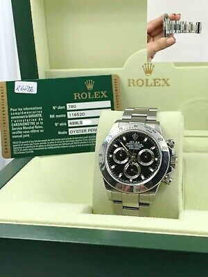 $ CDN26126.46 • Buy Rolex Daytona 116520 Black Dial Stainless Steel Box Papers OPEN CARD UNPOLISHED