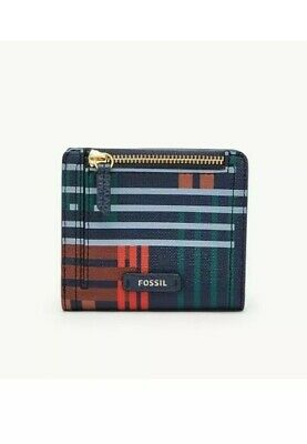 Fossil Logan RFID Small Bi Fold Plaid Wallet / Purse *BNWT* • 17.99£