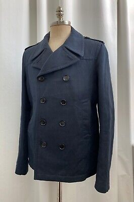 $400 • Buy Burberry Men Blue Peacoat Double-breasted—size 54 (L)